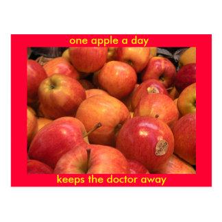 Carte Postale Une pomme par jour, maintient le docteur parti