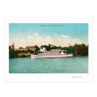 Carte Postale Une scène du fleuve Sacramento avec un bateau de