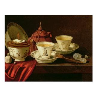 Carte Postale Une théière de Yixing et une porcelaine chinoise