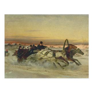 Carte Postale Une troïka galopante d'hiver à l'aube