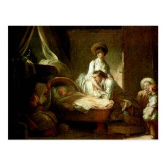 Carte Postale Une visite à l'infirmière par Fragonard Jean