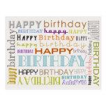 Carte postale unisexe de typographie de joyeux ann