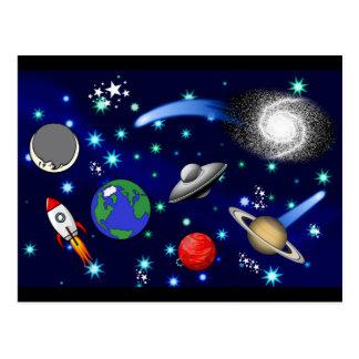 Carte Postale Univers de galaxie - planètes, étoiles, comètes,