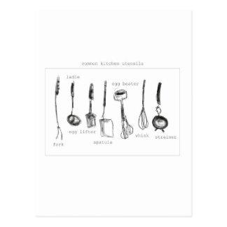 Carte Postale Ustensiles de cuisine