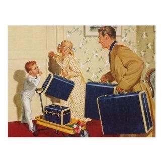 Carte Postale Vacances de famille vintages, valises d'enfants de
