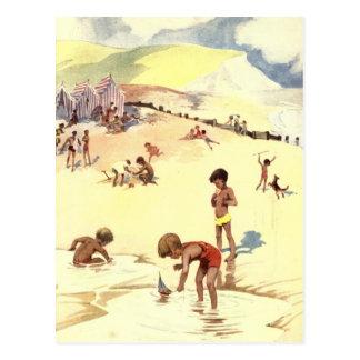 Carte Postale Vacances d'été vintages à la plage