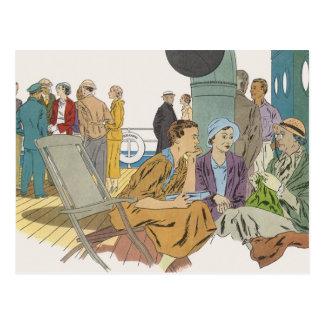Carte Postale Vacances vintages, bateau de croisière de