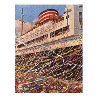 Carte Postale Vacances vintages de bateau de croisière ; Partie