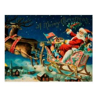 Carte Postale Vacances vintages de Noël du père noël Sleigh