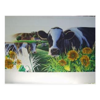 Carte Postale Vache à MOO avec des tournesols