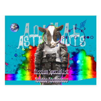 Carte Postale Vache animale à astronautes