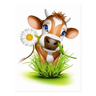 Carte Postale Vache du Jersey dans l'herbe