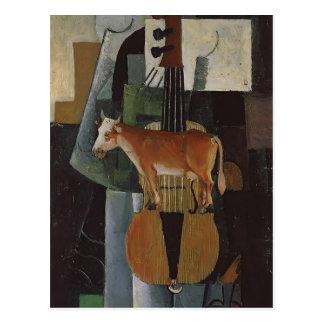 Carte Postale Vache et violon à Kazimir Malevich-