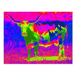 Carte Postale Vache psychédélique au Texas Longhorn