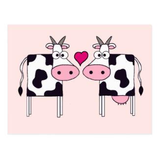 Carte Postale Vaches dans l'amour