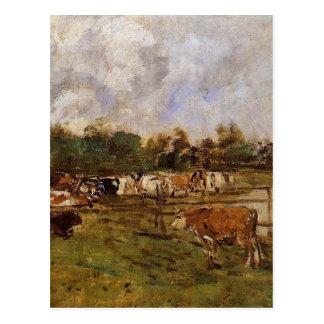 Carte Postale Vaches dans le pré par Eugene Boudin