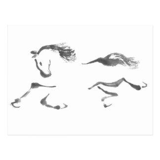 Carte Postale Vagabond cosmique, année de Sumi-e du cheval