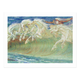 CARTE POSTALE VAGUES DE HORSES RIDE THE DE ROI NEPTUNE