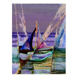 Carte Postale Vagues pourpres abstraites de mer de voilier