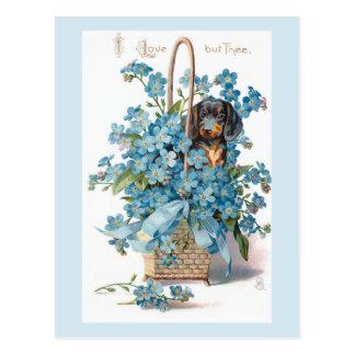 Carte Postale Valentine floral vintage nostalgique avec le