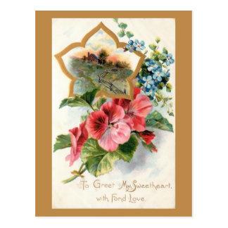 Carte Postale Valentine vintage avec des géraniums