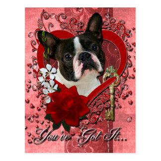 Carte Postale Valentines - clé à mon coeur - Boston Terrier