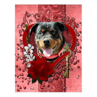 Carte Postale Valentines - clé à mon coeur - rottweiler