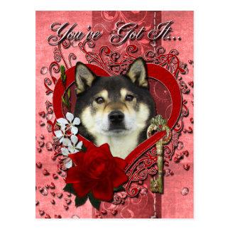 Carte Postale Valentines - clé à mon coeur - Shiba Inu - Yasha