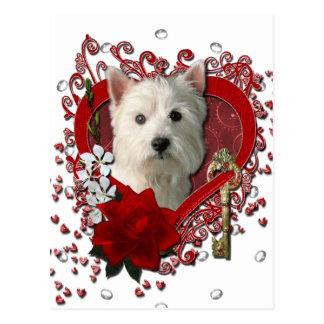 Carte Postale Valentines - clé à mon coeur Terrier des montagnes