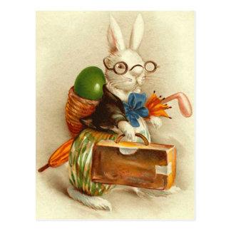 Carte Postale Valise colorée d'oeufs de lapin de Pâques de