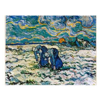 Carte Postale Van Gogh - deux femmes rurales creusant dans la