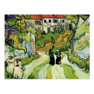 Carte Postale Van Gogh - rue et étapes de village dans Auvers