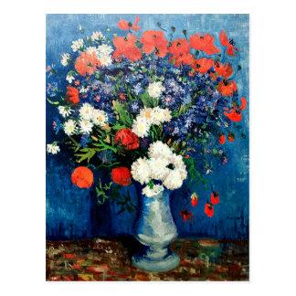 Carte Postale Van Gogh - vase avec des bleuets et des pavots
