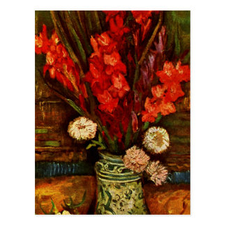 Carte Postale Van Gogh - vase avec Gladiolas rouge