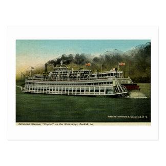 """Carte Postale Vapeur d'excursion """"capitol"""" sur le Mississippi"""