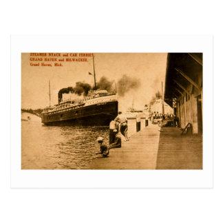 Carte Postale Vapeur Nyack et car-ferries, asile grand, MI
