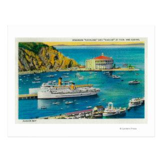 Carte Postale Vapeurs Catalina et Avalon au pilier, et casino