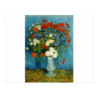 Carte Postale Vase à Van Gogh avec des bleuets et des pavots