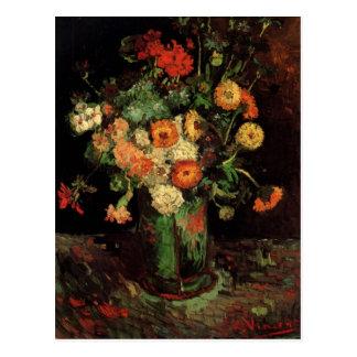 Carte Postale Vase à Van Gogh avec des Zinnias et des beaux-arts