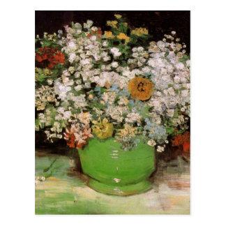 Carte Postale Vase à Van Gogh avec des Zinnias et des fleurs,