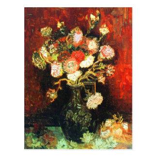 Carte Postale Vase avec des asters et des beaux-arts de Van Gogh