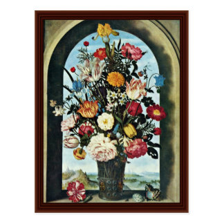 Carte Postale Vase avec des fleurs dans une fenêtre. Réuni,
