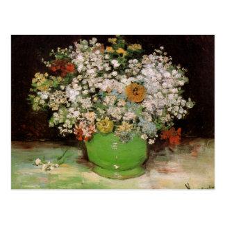 Carte Postale Vase avec des Zinnias et d'autres fleurs par Van
