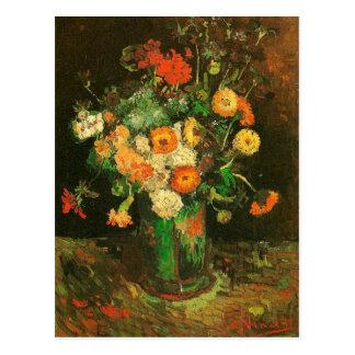 Carte Postale Vase avec des Zinnias et des beaux-arts de Van
