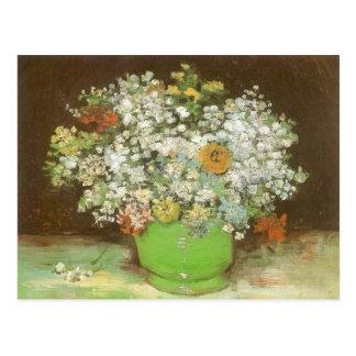 Carte Postale Vase avec des Zinnias et des fleurs par Vincent