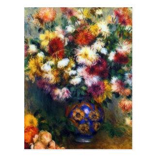 Carte Postale Vase de beaux-arts de chrysanthèmes par Renoir