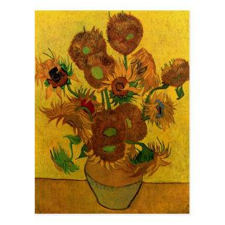 Carte Postale Vase toujours à la vie avec quinze tournesols -