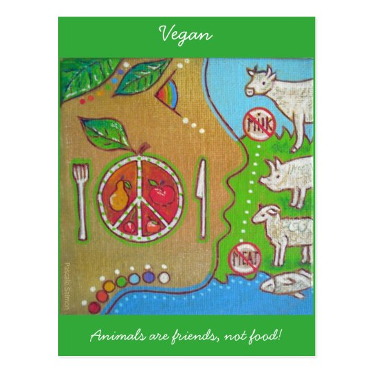 Carte postale vegan animals friends not food