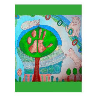 Carte postale vegan cat tree
