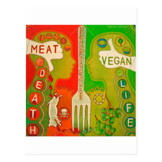 Carte postale vegan meat fork